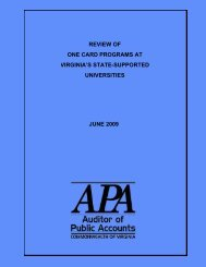 Review of One Card Programs at Virginia's State-Supported ...