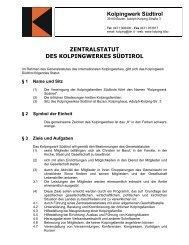 Zentralstatut Kolpingwerk Südtirol - Verband der Kolpinghäuser eV