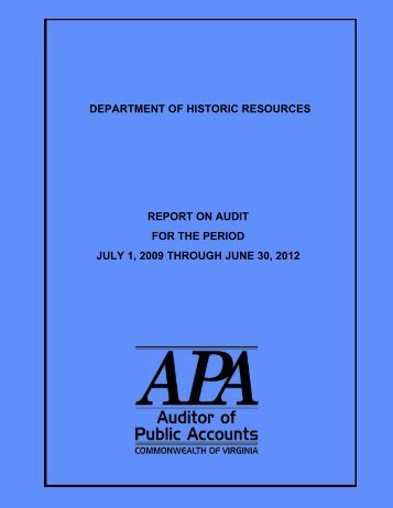 Department of Historic Resources - Virginia Auditor of Public Accounts