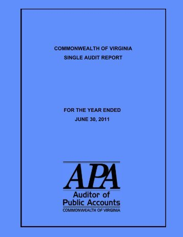 Commonwealth of Virginia Single Audit Report for the Year Ended ...