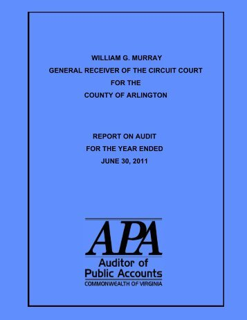 General Receiver of the Circuit Court of the County of Arlington ...