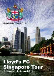 Download the official 2011 Lloyd's FC Tour Book - Sportscover