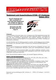 Reglement und Ausschreibung DTSW- GT Challenge Saison 2011