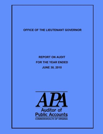 Office of Lieutenant Governor for the year ended June 30, 2010