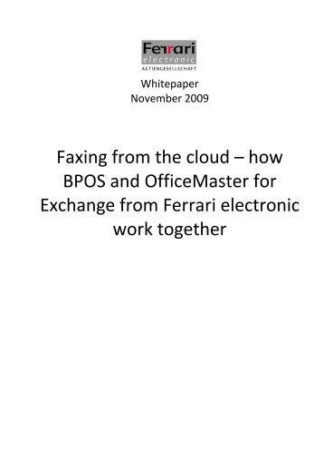 Faxing From The Cloud - Ferrari electronic