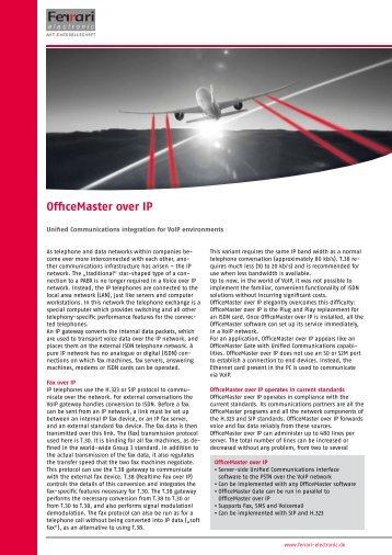 OfficeMaster over IP - Ferrari electronic AG