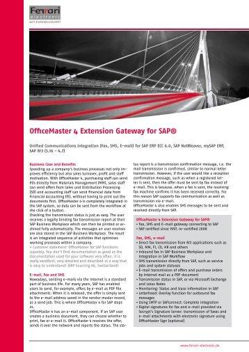 OfficeMaster 4 Extension Gateway for SAP® - Ferrari electronic AG