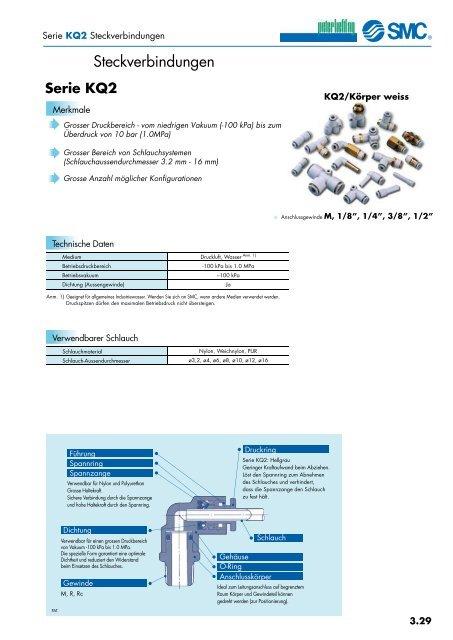 T-Steckverbindung  Schlauch-Außen-Ø 8 mm KQ2T08-00 SMC Steckverbindung weiß
