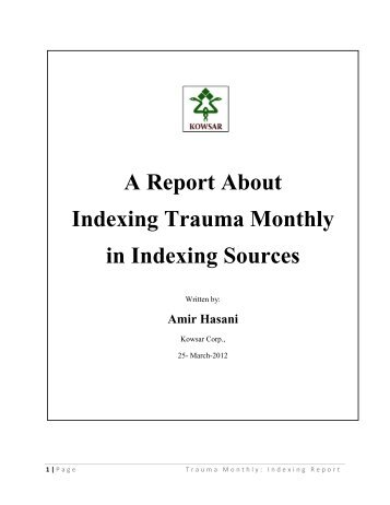 A Report About Indexing Trauma Monthly in Indexing Sources