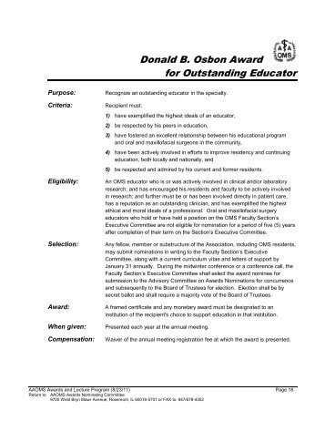 Donald B. Osbon Award for Outstanding Educator - American ...