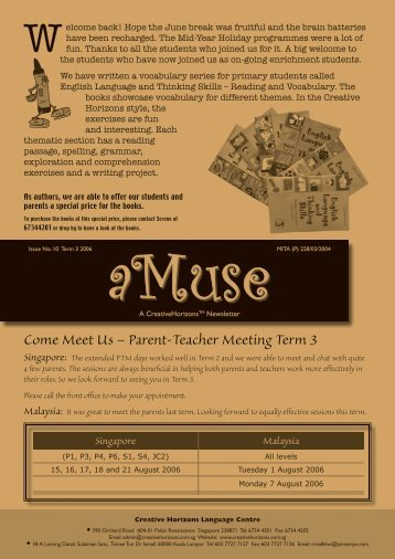 Parent-Teacher Meeting Term 3 Singapore - Creative Horizons