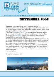 SETTEMBRE 2009.pmd - CAI - sezione di Sesto San Giovanni