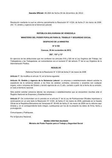 MINTRA Resol. 8100 Reforma 4524 Registro Nacional ... - cpzulia.org