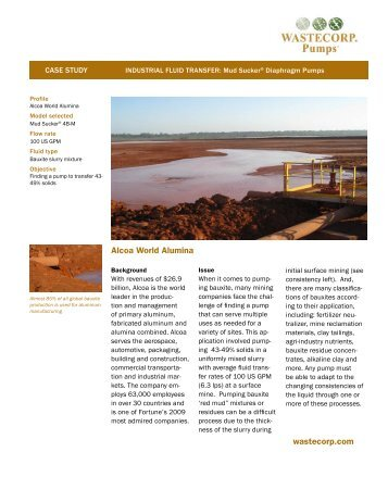 Pump Case Study: Alcoa Bauxite Mine Application - Wastecorp Pumps