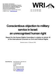 Conscientious objection in Israel: - War Resisters' International