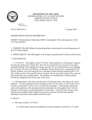 AFVA-CSM (670-1) - First Cavalry Division Association
