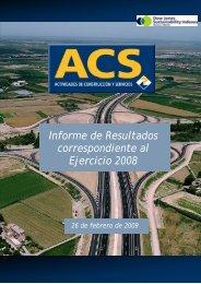 Informe de Resultados correspondiente al Ejercicio 2008 - Grupo ACS