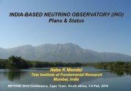 INDIA-BASED NEUTRINO OBSERVATORY (INO) Plans & Status