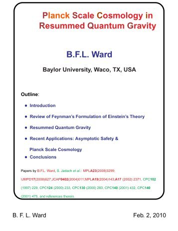 planck scale cosmology in resummed quantum gravity bfl ward