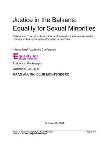 Justice in the Balkans: Equality for Sexual Minorities