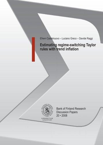 Estimating regime-switching Taylor rules with ... - Suomen Pankki
