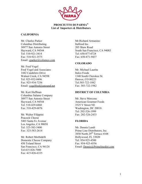 pdp importer & distributor list - Consorzio del Prosciutto