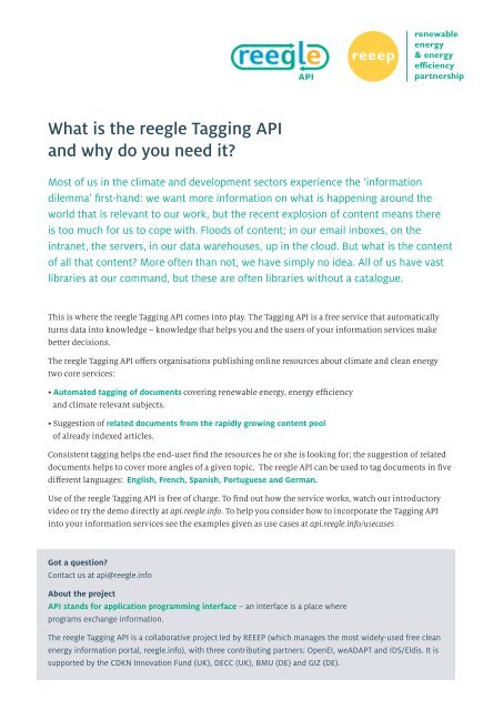 reegle Tagging API 2 pager including how-to - REEEP