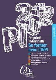 SE FORMER AVEC L'INPI Formations 2012