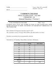 CAMOSUN COLLEGE General Chemistry 1 Version 1