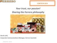 Your trust, our passion! Sharing the Ferrero ... - ConTech 2012