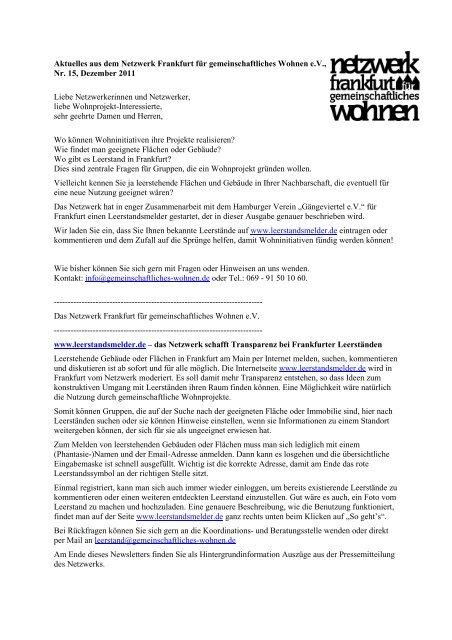 Nr.15 / Dezember 2011 - Netzwerk Frankfurt für gemeinschaftliches ...