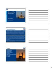 Offshore Drilling Challenges and Opportunities Outline