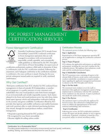 FSC FOREST MANAGEMENT CERTiFiCATiON SERviCES