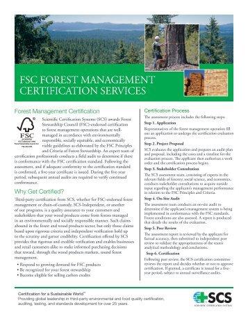 FSC FOREST MANAGEMENT CERTiFiCATiON SERviCES