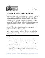 RESPECTFUL WORKPLACE POLICY, 2011 - District of Sooke