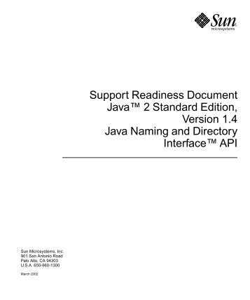 "Support Readiness Document Javaâ""¢ 2 Standard Edition, Version ..."