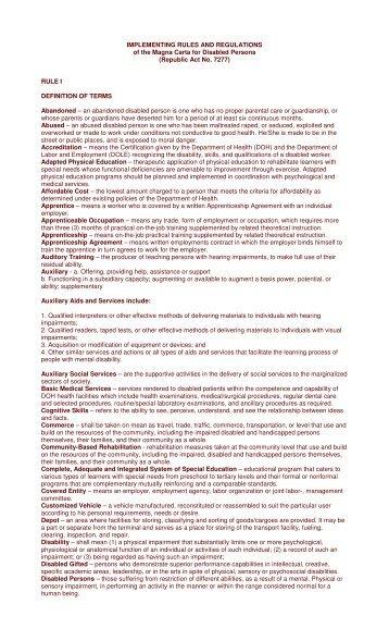 Republic Act No. 7277 - DILG Regional Office No. 5
