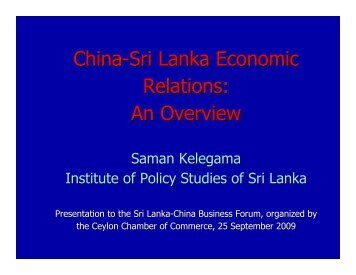 China-Sri Lanka Economic Relations: An Overview - Institute of ...