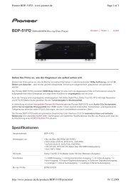 Spezifikationen BDP-51FD BONUSVIEW Blu-ray Disc-Player