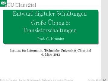 Transistorschaltungen - Technische Universität Clausthal