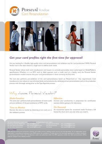 Perseval Vendor flyer - FIME's smart card pre-validation test tool