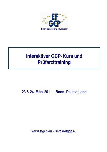 Interaktiver GCP-Kurs und Prüfarzttraining - European Forum ...