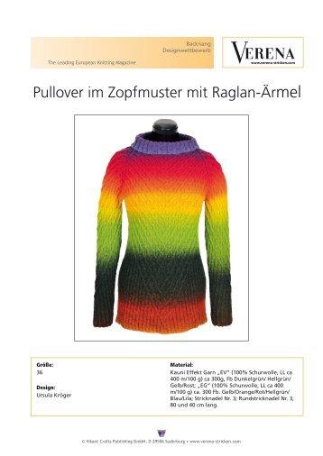 Pullover im Zopfmuster mit Raglan-Ärmel - Verena Stricken