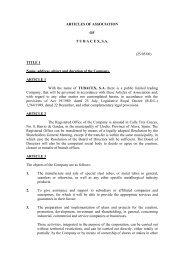ARTICLES OF ASSOCIATION OF T U B A C E X, S.A. (25/05/06 ...