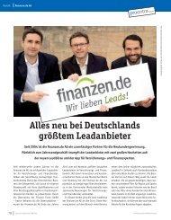 Alles neu bei Deutschlands größtem Leadanbieter - Finanzen.de