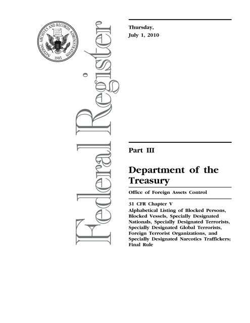 Part Iii Department Of The Treasury