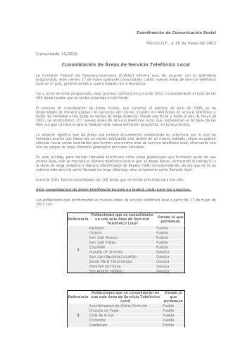 Consolidación de Áreas de Servicio Telefónico Local - Cofetel