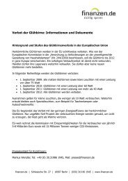 Verbot der Glühbirne: Informationen und Dokumente - Finanzen.de