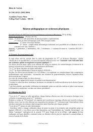 Séance pédagogique en sciences physiques - Académie de Nancy ...