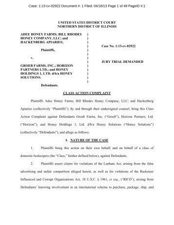 Class Action Lawsuit Document - American Honey Producers ...